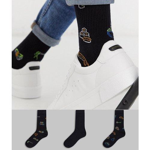 Lot de 3 paires de chaussettes style sport imprimé fluo motif sushi - ASOS DESIGN - Modalova