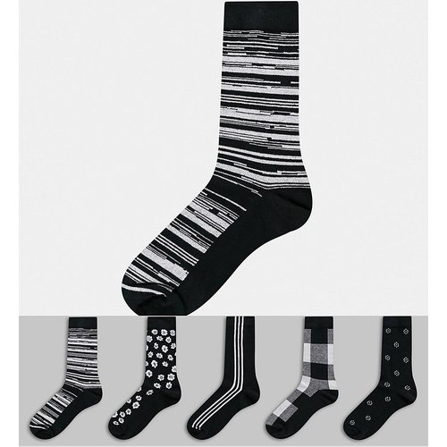 Lot de 5 paires de chaussettes basses à motif monochrome - Économie - ASOS DESIGN - Modalova