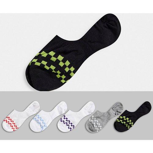 Lot de 5 paires de chaussettes invisibles à motif damier - ASOS DESIGN - Modalova