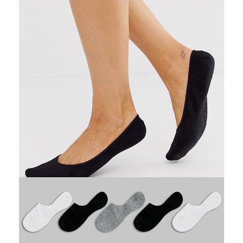 Lot de 5 paires de chaussettes invisibles avec bande adhrérente à l'arrière - Noir, blanc et gris - ASOS DESIGN - Modalova