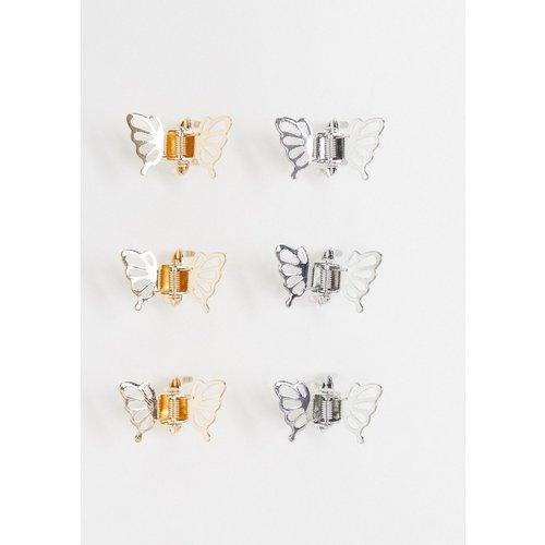 Lot de 6 pinces à cheveux en métal motif papillon - ASOS DESIGN - Modalova