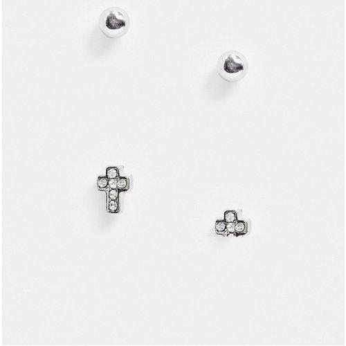 Lot de boucles d'oreilles avec croix en strass - Argent brillant - ASOS DESIGN - Modalova