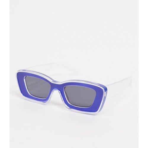 Lunettes de soleil à monture biseautée épaisse - Transparent et bleu - ASOS DESIGN - Modalova