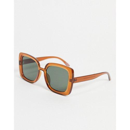 Lunettes de soleil carrées oversize biseautées style années70 - cristal - ASOS DESIGN - Modalova