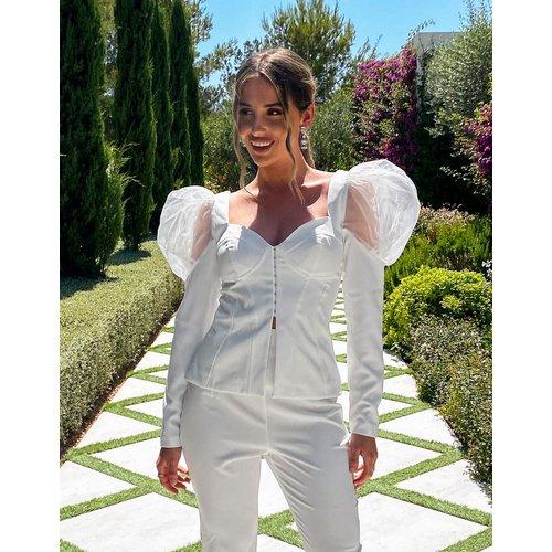 Luxe - Top ajusté style corset à manches bouffantes - ASOS DESIGN - Modalova