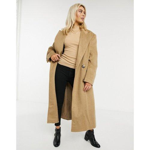 Manteau de luxe long à effet brossé - Fauve - ASOS DESIGN - Modalova