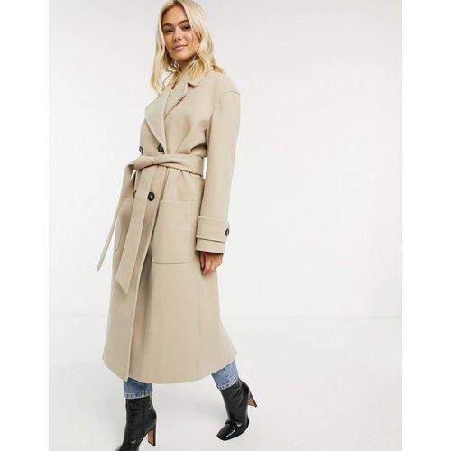 Manteau de luxe long avec ceinture - Camel - ASOS DESIGN - Modalova