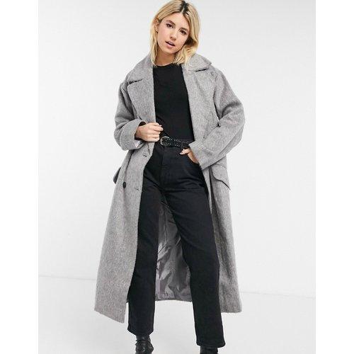 Manteau long brossé luxueux - Gris - ASOS DESIGN - Modalova