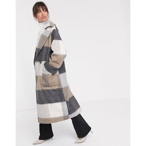 Manteau long oversize en tissu brossé à carreaux - ASOS DESIGN - Modalova