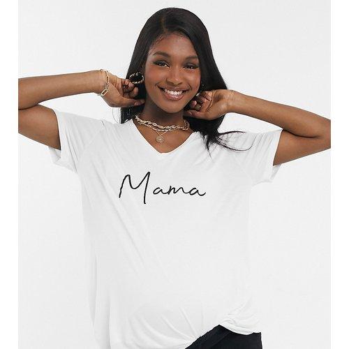ASOS DESIGN Maternity - Mama - T-shirt d'allaitement à col V et manches longues avec motif - ASOS Maternity - Nursing - Modalova