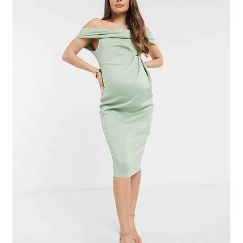 ASOS DESIGN Maternity - Robe crayon mi-longue drapée à épaule dénudée - Vert sauge - ASOS Maternity - Modalova