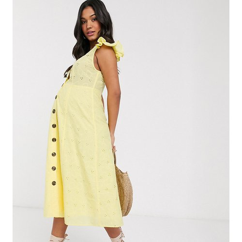 ASOS DESIGN Maternity - Robe d'été mi-longue boutonnée en broderie anglaise - ASOS Maternity - Modalova