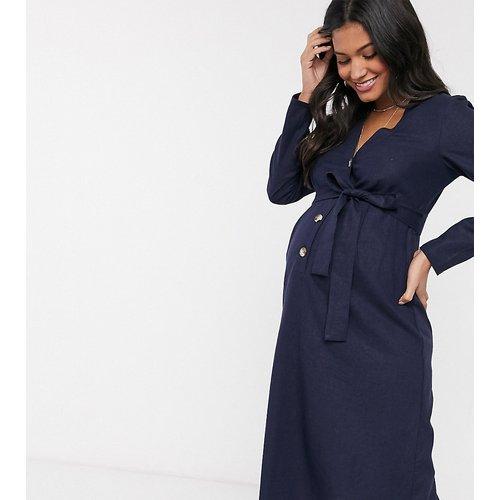 ASOS DESIGN Maternity - Robe mi-longue boutonnée en lin avec ceinture à nouer - Bleu marine - ASOS Maternity - Modalova
