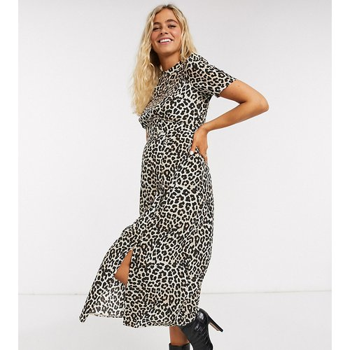 ASOS DESIGN Maternity - Robe mi-longue fendue et boutonnée à imprimé léopard - ASOS Maternity - Modalova