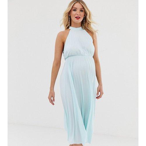 ASOS DESIGN Maternity - Robe mi-longue plissée avec taille marquée et dos nu - ASOS Maternity - Modalova