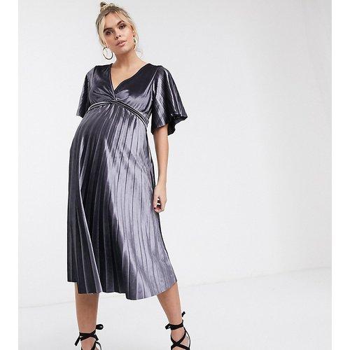 ASOS DESIGN Maternity - Robe mi-longue torsadée sur le devant en velours - ASOS Maternity - Modalova