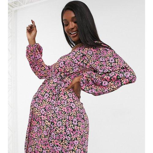 ASOS DESIGN Maternity - Robe midi portefeuille à manches longues - Imprimé fleuri - ASOS Maternity - Modalova