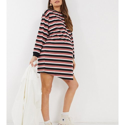 ASOS DESIGN Maternity - Robe t-shirt oversize à manches longues et rayures - Rose - ASOS Maternity - Modalova