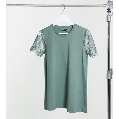 ASOS DESIGN Maternity - T-shirt à détails en dentelle aux manches - sauge foncé - ASOS Maternity - Modalova