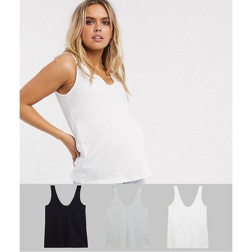 ASOS DESIGN Maternity - Ultimate - Lot de 3 débardeurs à encolure dégagée en coton biologique - ÉCONOMIE - ASOS Maternity - Modalova