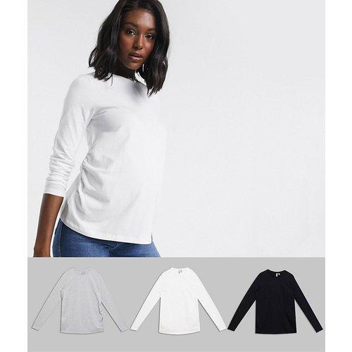 ASOS DESIGN Maternity - Ultimate - Lot de 3 t-shirts ras de cou à manches longues en coton biologique - Économie - ASOS Maternity - Modalova