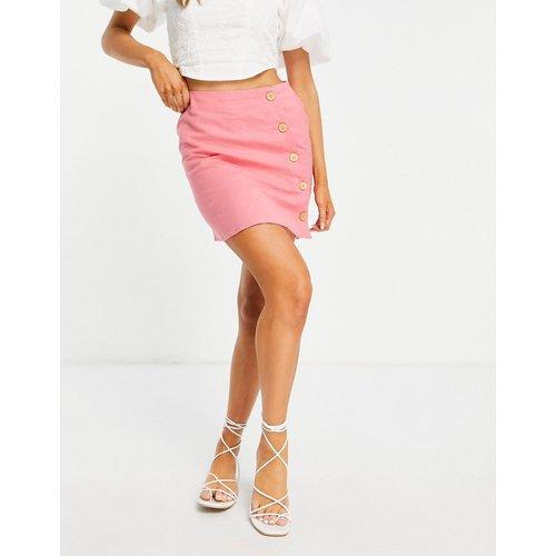 Mini-jupe aspect lin avec boutonnage asymétrique - ASOS DESIGN - Modalova