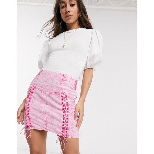 Mini-jupe avec détail style corset à la taille - délavé - ASOS DESIGN - Modalova