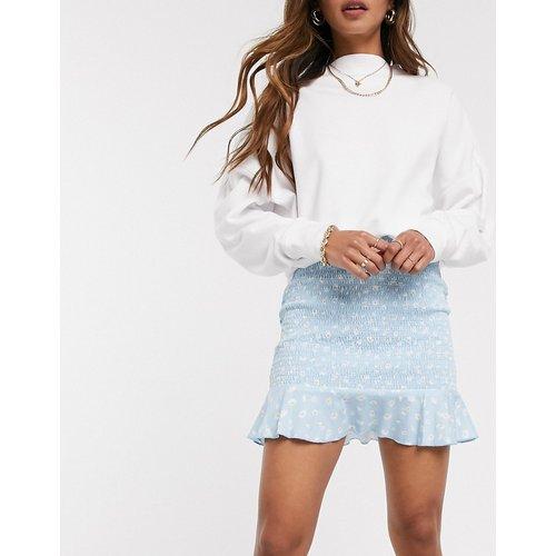 Mini-jupe d'ensemble froncée à fleurs - Bleu - ASOS DESIGN - Modalova