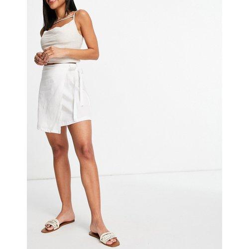 Mini-jupe portefeuille effet lin - ASOS DESIGN - Modalova