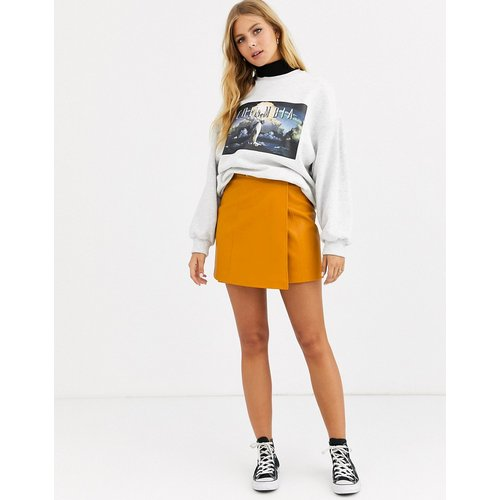 Mini-jupe trapèze pressionnée en similicuir - ASOS DESIGN - Modalova