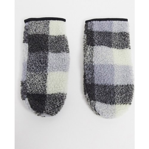 Moufles en imitation peau de mouton à carreaux - ASOS DESIGN - Modalova
