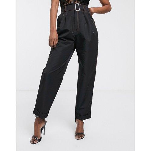 Pantalon à ceinture en tissu robuste avec surpiqûres contrastantes - ASOS DESIGN - Modalova