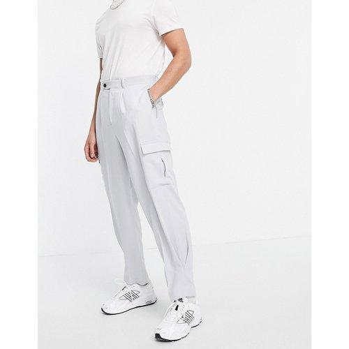 Pantalon cargo slim taille haute habillé en crêpe - ASOS DESIGN - Modalova
