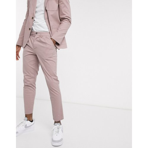 Pantalon chino habillé plissé d'ensemble coupe cigarette - chaud - ASOS DESIGN - Modalova