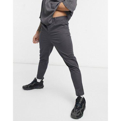 Pantalon chino taille haute coupe cigarette - anthracite - ASOS DESIGN - Modalova