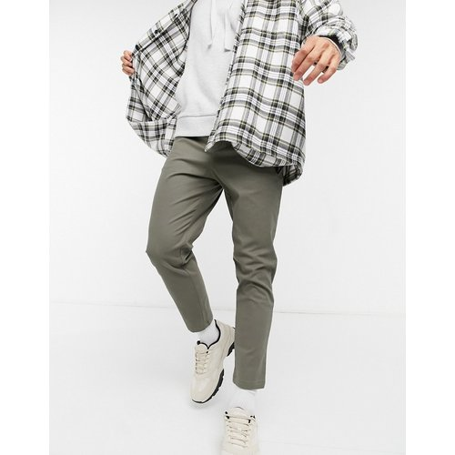 Pantalon chino taille haute coupe cigarette - Kaki foncé - ASOS DESIGN - Modalova