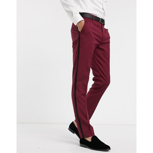 Pantalon de costume ajusté style smoking - Bordeaux - ASOS DESIGN - Modalova