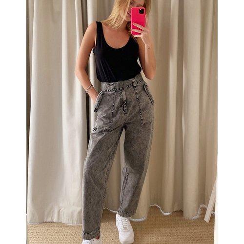 Pantalon de travail bouffant avec ceinture - Anthracite délavé - ASOS DESIGN - Modalova