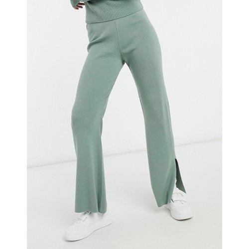 Pantalon d'ensemble large en maille avec fentes - Sauge - ASOS DESIGN - Modalova