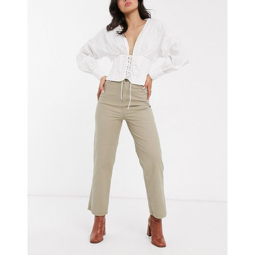 Pantalon droit confort en coton stretch flammé - ASOS DESIGN - Modalova