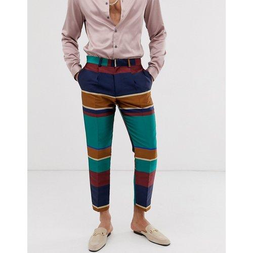 Pantalon élégant court slim à rayures multicolores - ASOS DESIGN - Modalova