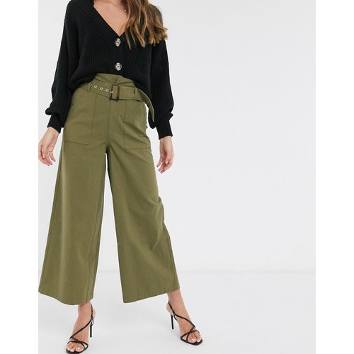 Pantalon en coton à taille haute froncée avec ceinture - délavé - ASOS DESIGN - Modalova