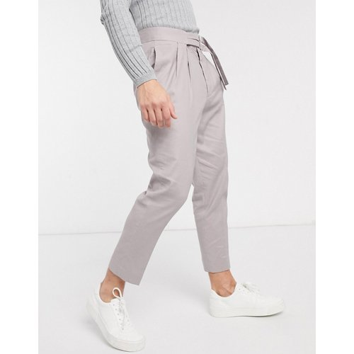 Pantalon fuselé habillé en lin avec double ceinture - ASOS DESIGN - Modalova