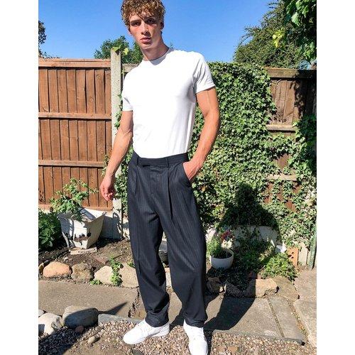 Pantalon habillé coupe slim taille haute - Bleu marine - ASOS DESIGN - Modalova