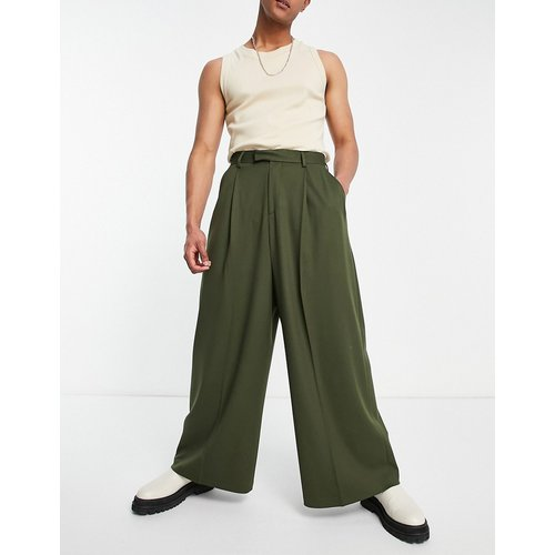 Pantalon habillé taille haute ultra large - Kaki - ASOS DESIGN - Modalova