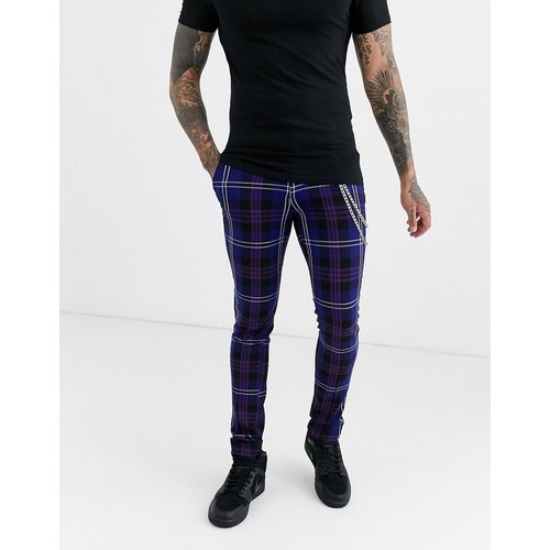 Pantalon habillé ultra slim avec chaîne - Carreaux - ASOS DESIGN - Modalova