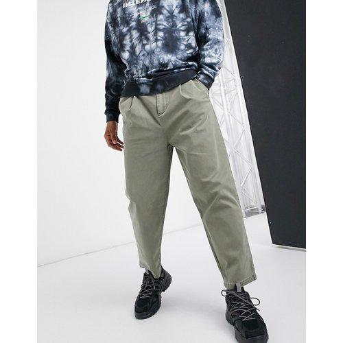 Pantalon large à plis - Kaki délavé - ASOS DESIGN - Modalova