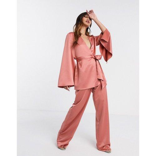 Pantalon large de tailleur 3 pièces en satin doux - ASOS DESIGN - Modalova