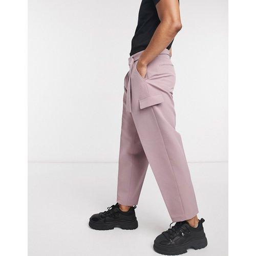 Pantalon large élégant avec ceinture à boucle métallique - Violet - ASOS DESIGN - Modalova