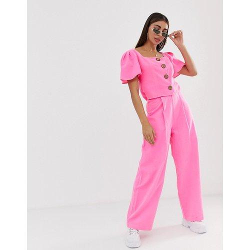Pantalon large en lin (ensemble) - Fluo - ASOS DESIGN - Modalova